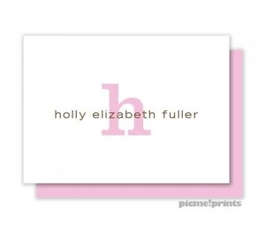 calling cards initial and name white pink - Personalized Calling Cards