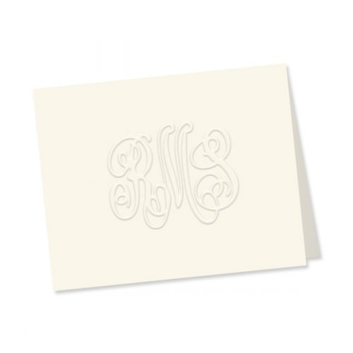 Monogram Embossed Folded Note Cards