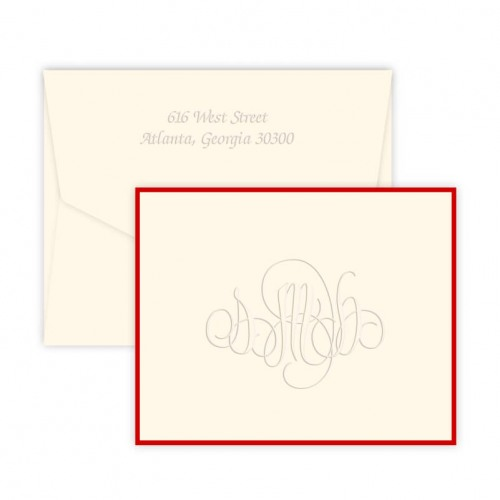 Firenze Monogram Embossed Folded Note Cards