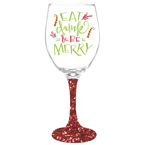 Be Merry Wine Glass With Glitter Stem