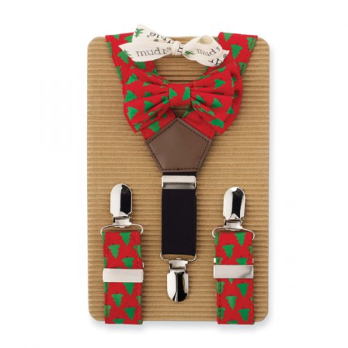Christmas Tree Suspender And Bow Tie Set