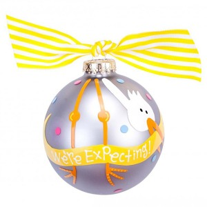We're Expecting Stork Glass Ornament
