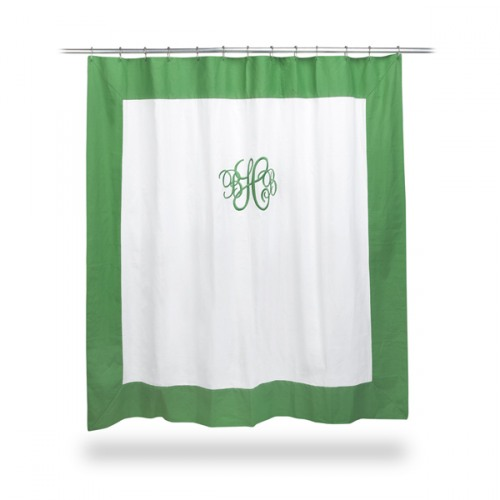 White Shower Curtain With Green Trim, Green And White Shower Curtain