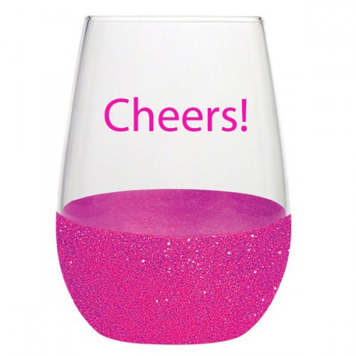 1cdd14698cb Pink Glitter Dipped Stemless Wine Glass