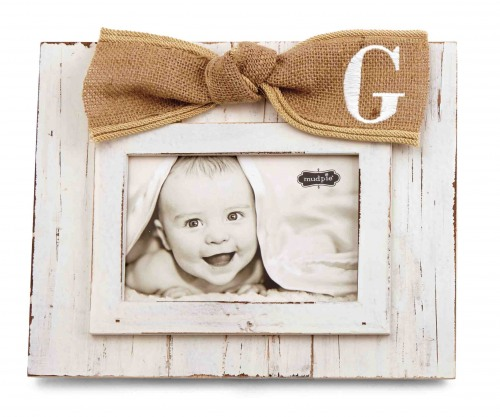 Initial Burlap Bow Picture Frame