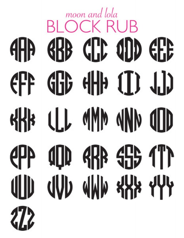 Circle Monogram Letter Chart