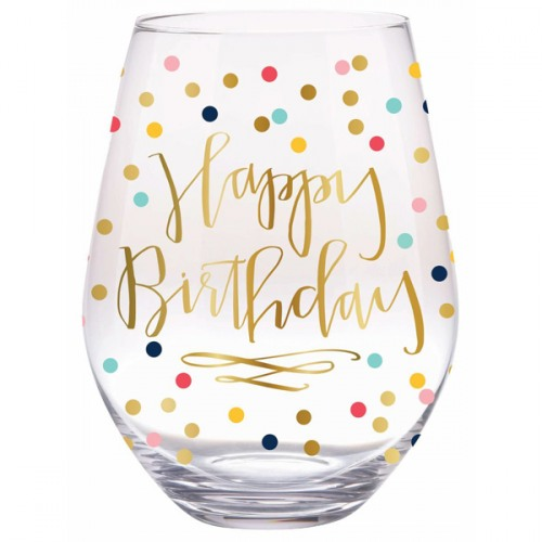 Happy Birthday Confetti Stemless Wine Glass