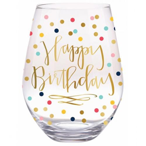 happy birthday wine glass Happy Birthday Confetti Stemless Wine Glass happy birthday wine glass