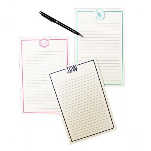 Custom Colors Personalized Notepad Initial Monogram Stationery Medium Notepad Small Notepad Two Letter Interlocking Monogram