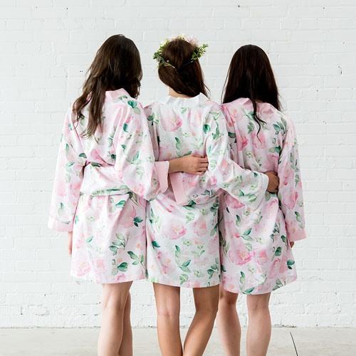2e04b79ef4 White Watercolor Floral Silky Kimono Robe
