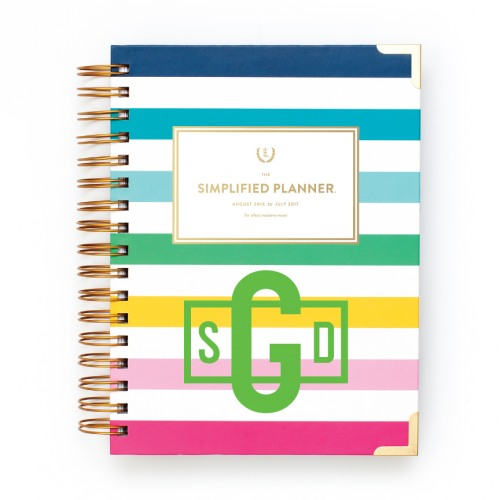 photo relating to Simplified Planner identified as 2016-2017 Emily Ley Satisfied Stripe Educational Each day Simplified Planner