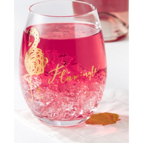 3bda914c0b9 Lilly Pulitzer Flamingle Lover's Coral Stemless Wine Glass Set