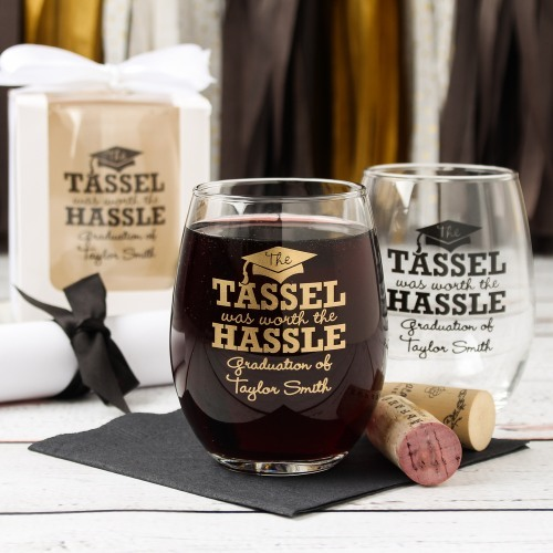 Personalized Tassel Worth The Hassle Stemless Wine Glass