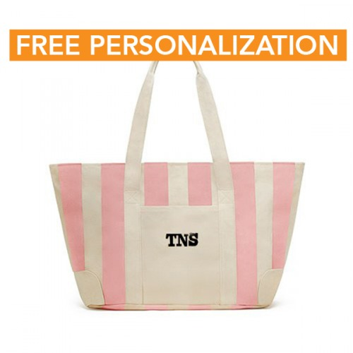 Pink Large Striped Canvas Tote Bag