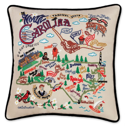 North Carolina State Hand Embroidered Pillow