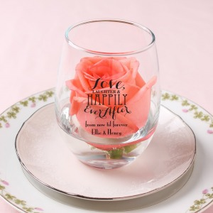 personalized bridal shower 15 oz stemless wine glass