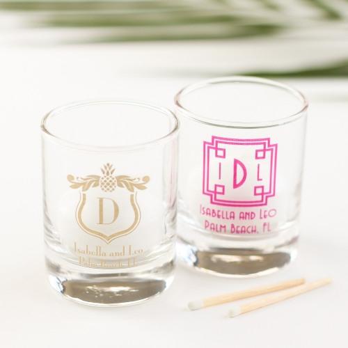 personalized monogram shot glass votive holder
