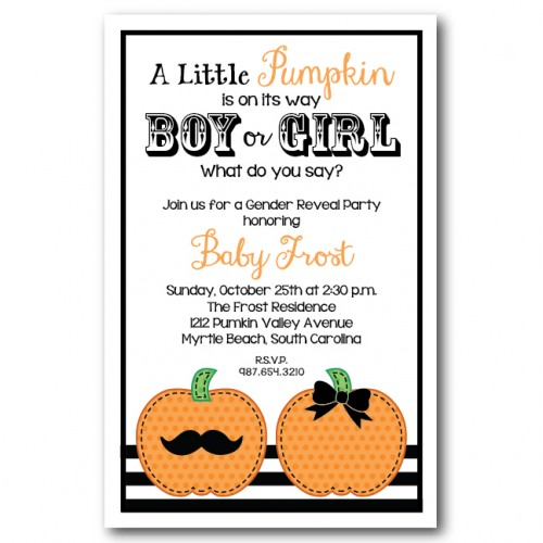 mustache and bow pumpkin invitation