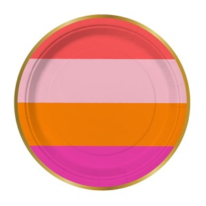 Pink and Orange Bold Stripe Paper Plates  sc 1 st  Swoozies & Outdoor tableware paper plates paper napkins entertaining with ...