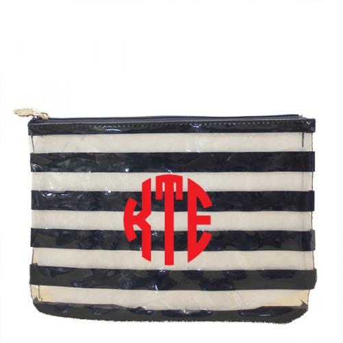 6f3e134819dd Navy Stripe Clear Cosmetic Bag