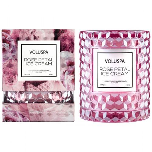8.5 Ounces Voluspa Rose Petal Ice Cream Icon Cloche Textured Glass Candle