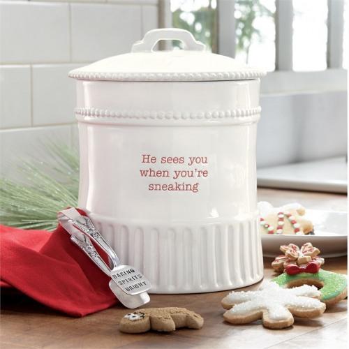 Sneaking Christmas Cookie Jar Set